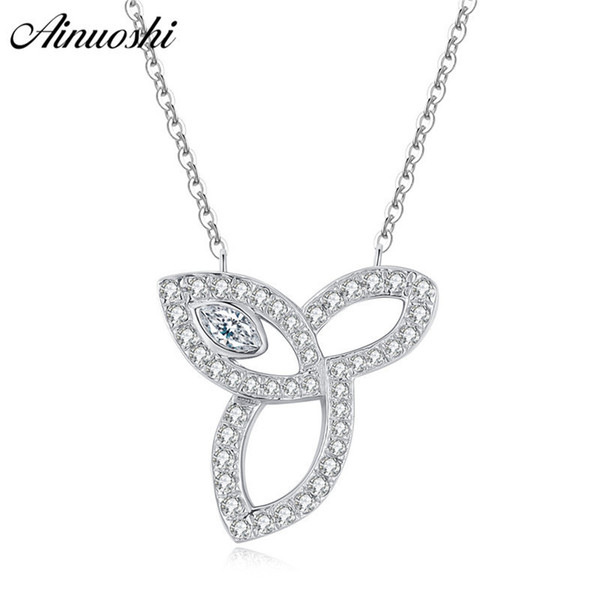 Ainuoshi Luxury 925 Sterling Silver Pendant Necklace For Women Leaves Long Chain Necklace Wedding Silver Jewelry Collar De Plata Y19061703