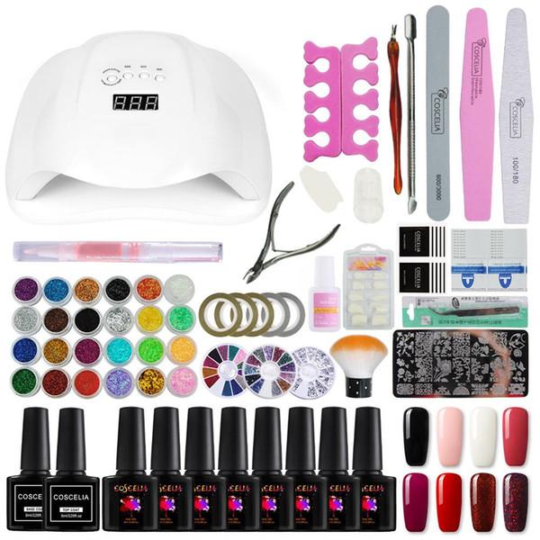 COSCELIA Full nail set 54W UV LED Lamp Gel Nail Polish Set Tools For Manicure For Gel Polish All Manicure Art