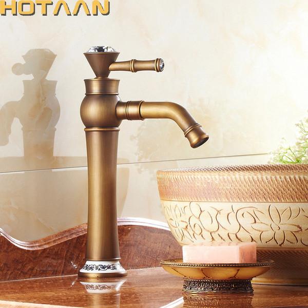 Spedizione gratuita Contemporanea Bagno Rubinetto Antico bronzo finitura Ottone Bacino Lavello Rubinetto Singola maniglia rubinetti dell'acqua YT5089