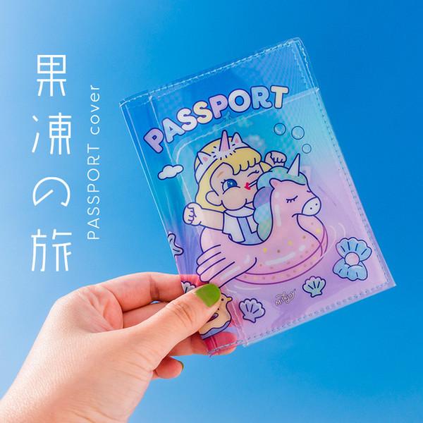 Bentoy Cute Transparent Jelly Passport Cover Porta passaporto per Unicorn Portadocumenti da viaggio portadocumenti per documenti Porta documenti stile INS