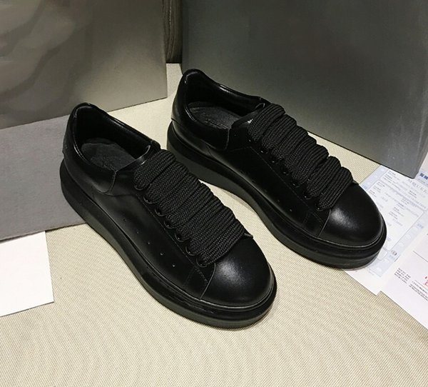 All Black Muffin Thick-soled Shoes Female Cowskin Italian Classic Thick-soled Sports Shoes Male Dermis Heightening and Leg Repairing