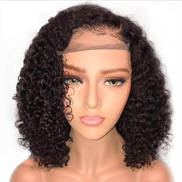 Peluca rizada rizada del pelo corto Peluca delantera de encaje sintético Pelucas afroamericanas para mujeres negras Cabello resistente al calor Color natural