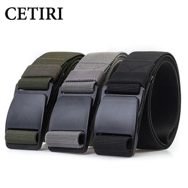 CETIRI 3.8cm Unisex Tactical Web Belt Men Women Stretch Webbing Belt With POM Plastic Buckle for Outdoor Hiking