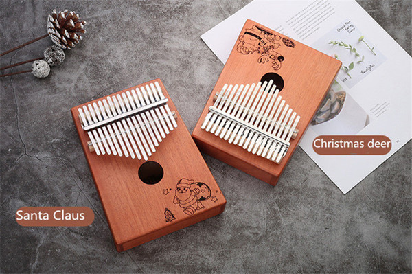 best selling High quality Christmas series 17 Keys Kalimba Wood Mahogany Body Thumb Piano play with guitar Musical Instrument accessories