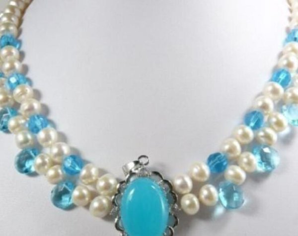 necklace Hot sale new Style >>>>> 2 color White Freshwater Pearl pink & Blue Jade Moonstone Pendant Necklace A341