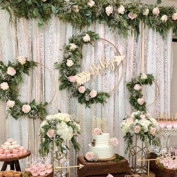 ome jardim 10-40cm ferro de ouro anel de metal grinalda festão decoração de casamento chuveiro de bebê floral grinalda flores sonho apanhador aro de ...