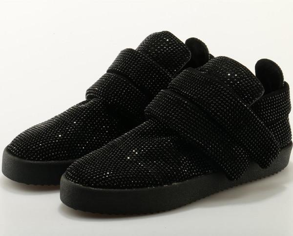 Мода Кристалл Блеск Мужчины Повседневная обувь Круглый Toe Крюк Loop Sequined Ткань Hookloop Плоский красный черный платформы обувь Мужские кроссовки -03