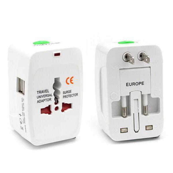 Adaptador de viaje internacional Adaptadores de corriente universales Convertidor de enchufe en todo el mundo Todo en uno con puerto USB Adaptador de enchufe de CA para EE. UU. UE Reino Unido AU