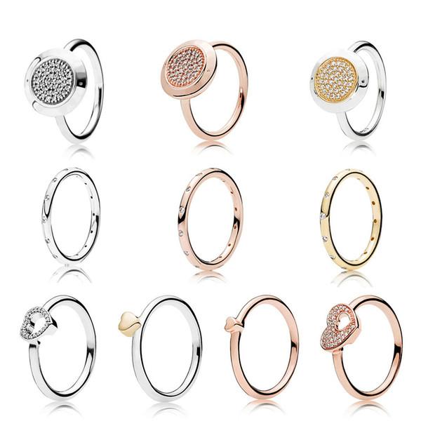 NUEVO 925 anillo de plata esterlina moda popular encantos anillo de bodas para mujeres amantes en forma de corazón autógrafo anillos DIY joyería