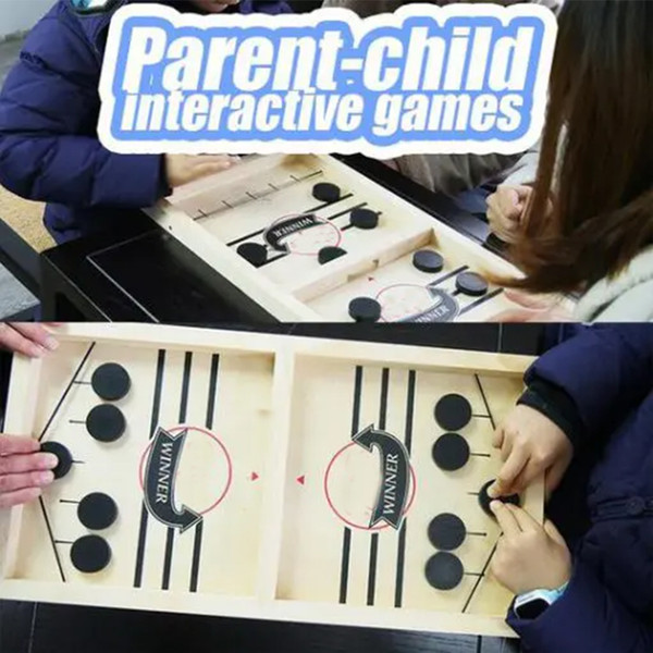 best selling SLING PUCK Catapult Bumper Chess Parent-child Interactive Game Table Desktop Battle 2 In 1 Ice Hockey Game