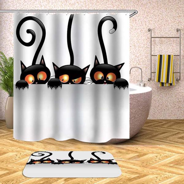 Cartoon Animals Shower Curtain Waterproof Bath Curtains for Bathroom Bathtub Bathing Cover Extra Large Wide 12pcs Hooks