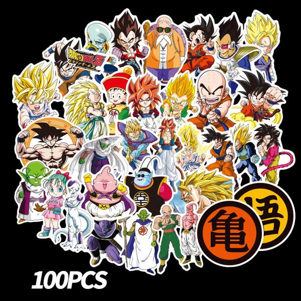 100 pçs / set New Dragon Ball Z Graffiti Adesivo Personalidade Bagagem DIY adesivos de PVC dos desenhos animados adesivos de Parede saco acessórios para crianças brinquedos de presente B