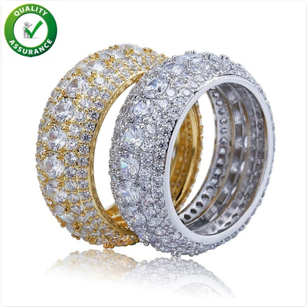 top popular Designer Jewelry Mens Gold Rings Hip Hop Iced Out Ring Micro Paved CZ Diamond Engagement Wedding Finger Ring for Men Women Luxury Wedding 2019