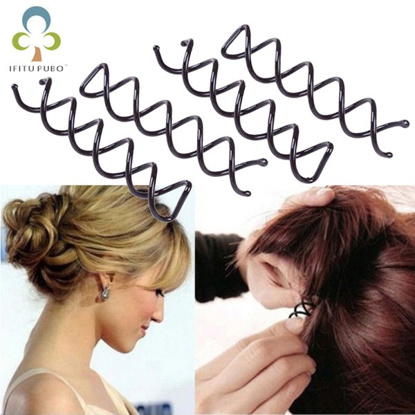 12Pc Hair Styling Tools Braiders Spiral Spin Screw Pin Hair Clips Twist Barrette Hairpins Hairdressing Accessories Clip GYH