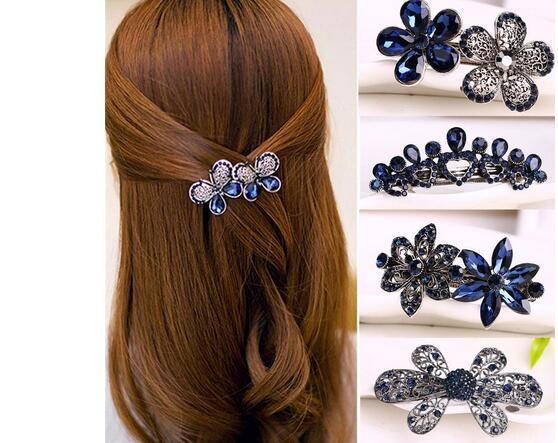Fashion Women's Crystal Butterfly Hairpin Vintage Rhinestone Flower Hair Pin Barrette Hair Clip Hair Styling Accessories GB