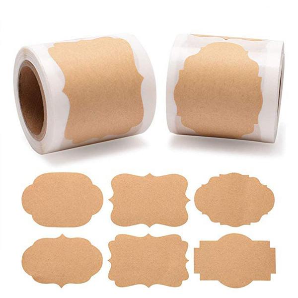 top popular 600pcs blank kraft brown paper box sealing adhesive sticker label new arrival irregular shape blank adhesive sticker label can be handwritte 2021