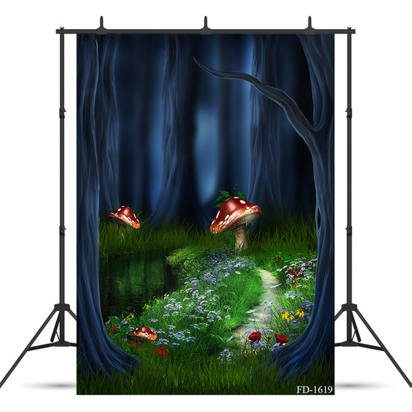 mushroom tree outlet photography backdrops for children kids baby shower new born vinyl cloth computer printed backgrounds photo studio