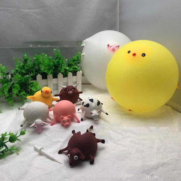Soffiabile piccolo animale sfiato giocattolo di decompressione ippopotamo pulcino spremitura di musica del giocattolo giocattolo onda palla di decompressione spoof