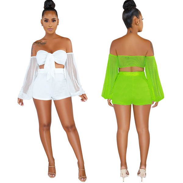 2019 Neon Green Fishnet Hollow 2 Piece Set Women Slash Neck Long Sleeve Crop Top And Bodycon Shorts Sweat Suits Summer Beach Outfits