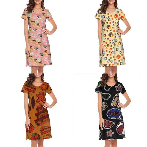 Womens design printing Orange Chocolate Glazed Donut white nighty gown shirt dress designer band slogan loungewear fashion family for