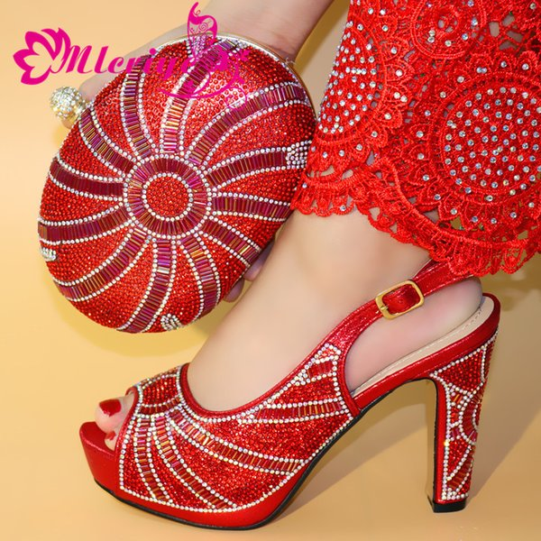 New Arrival Red Color Ialian Shoes and Bag Set Decorated with Rhinestone African Shoe and Bag Set for Party In Women Italy Shoes