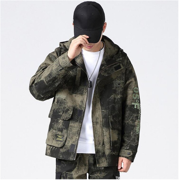 Spring 2020 men's casual Japanese cotton hooded work jacket youth trend camouflage loose jacket men's fashion print work