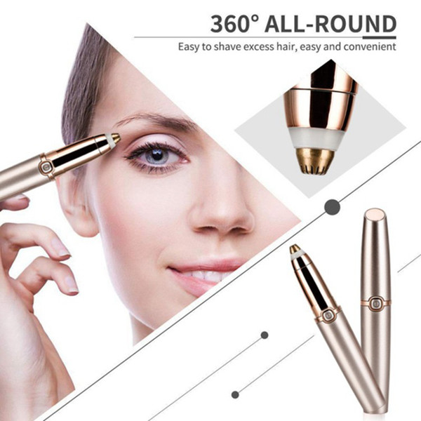 Eyebrow trim device ro e golden battery lip tick hape epilator alloy cutter head 360 all round have implement 2 color free
