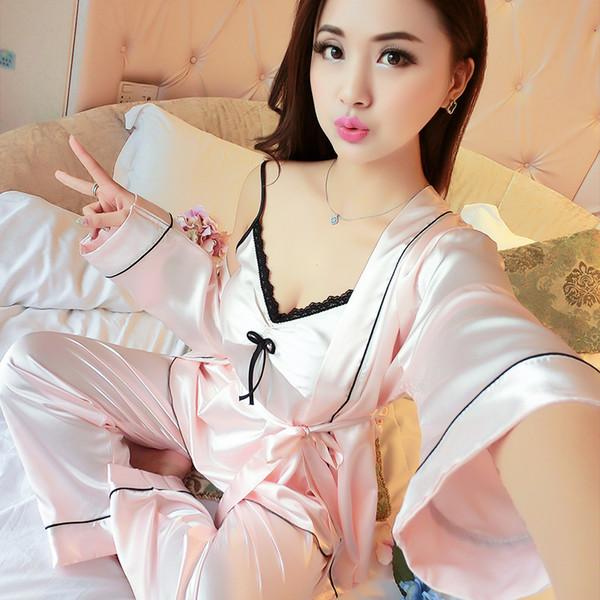 Sexy Pajamas Set Lace 3pcs Sleepwear Women Casual Home Wear Satin Kimono Bathrobe Gown Bride Bridesmaid Wedding Robe Pyjamas Y19042803