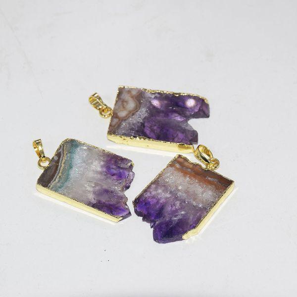 natural slice geode druzy amethysts stone point pendant women 2019 raw slab purple crystal quartz rectangle pendant for necklace