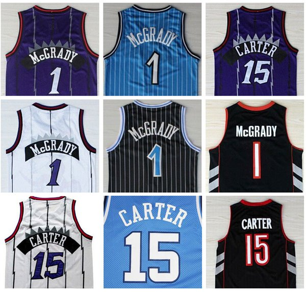 pretty nice dac56 80cb3 2019 Good Quality Stitched Tracy 1# McGrady Jersey White Purple Vince #15  Carter North Carolina College Blue White Jerseys Man Size S XXL From ...