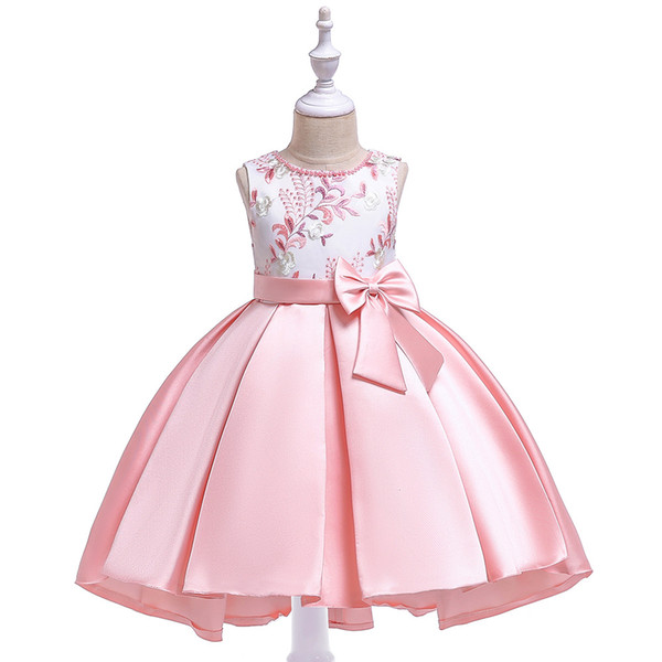 Children's dress Knee With Bow Girls from 4 to 11 years old Children's Evening Ball Dresses For Wedding Princess Dress for Graduation Party