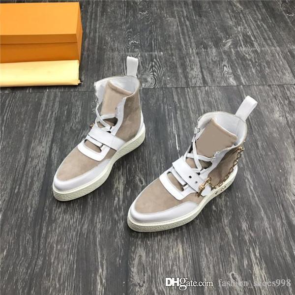 2019 Üst baskı erkek ayak bileği çizmeler İtalyan deri erkek ayakkabı, Zincir süs renk tasarımı yüksek casual casual eğitmenler vurdu