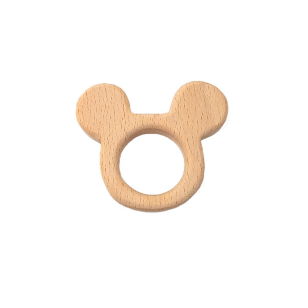 4pcs Baby Teether Beech Wooden Mouse head Teether Baby Teething Toy Teething Accessories Kids Teething Pendant Nursing Holder