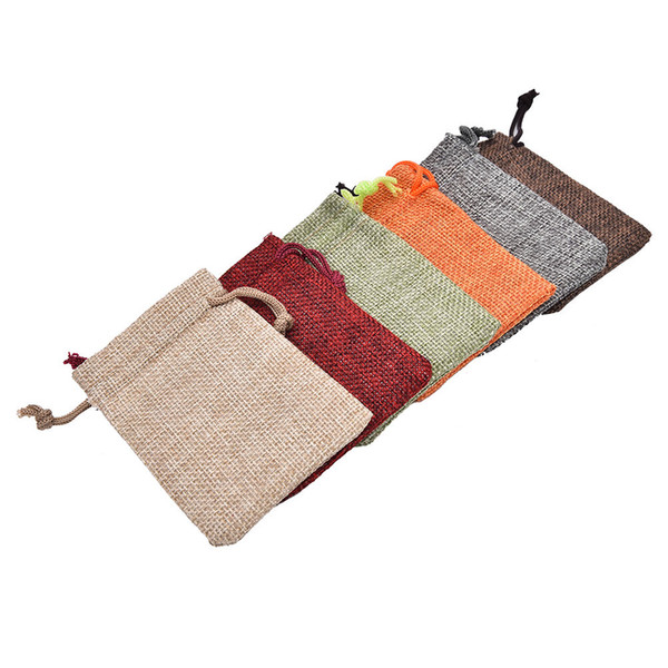 10pcs Mini Wedding Ring Jewelry Packing Pouch Jute Pouch Linen Hessian Drawstring Small Gift Packaging Bag 7x9cm 10 X 14cm