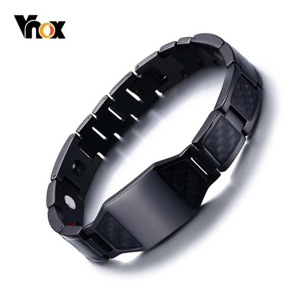 Vnox Stylish Men's Carbon Fiber Bio Energy Bracelets Health Magnetic Link Chain Bracelets Bangles Perfect Gifts Accessories Y19051002
