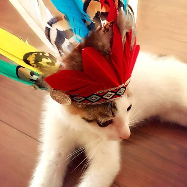 Pet Supply Indian Feather Cat Hat Small Animals Dog Cats Head Accessories Photography Pets Products