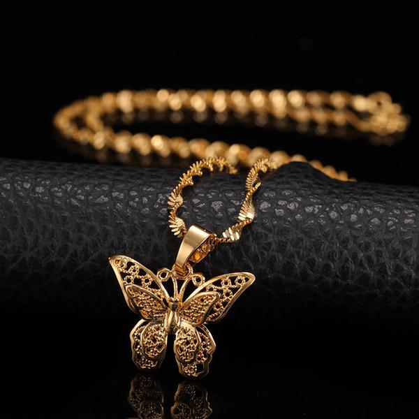 collier ras de cou or jaune papillon