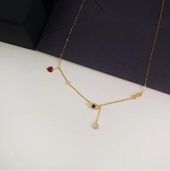 Lucky Charm Necklace Baitao S925 Plateado Lucky Eye Life Charm Peach Heart Clavícula Cadena Suéter Cadena