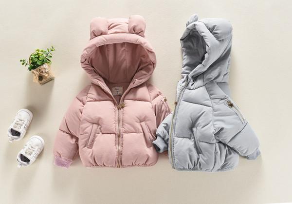 Veste hiver bébé fille sourire oreille Bear Coat Face coton enfants Cartoon chaud Top coton manteau rembourré