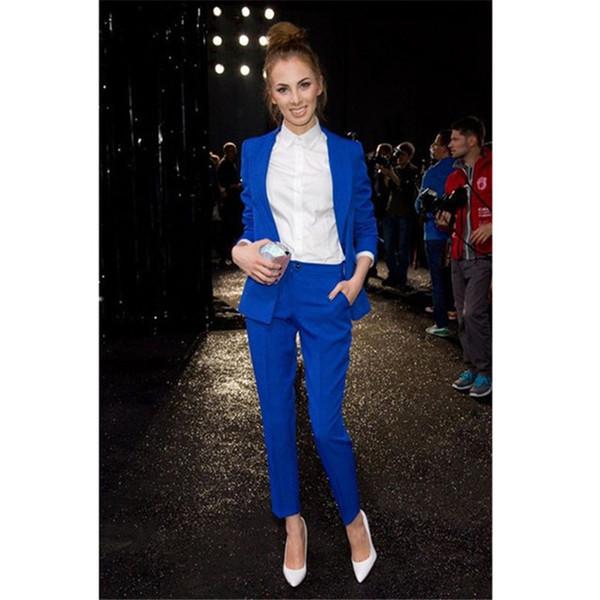 Women's solid color slim slimming suit two-piece suit (coat + pants) ladies business formal suit support customization