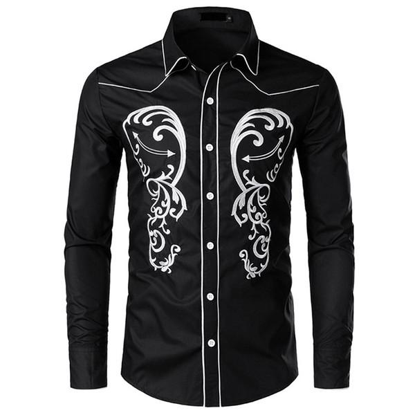 Chemise en jean brodée à la mode décontractée Chemise à manches longues brodée pour hommes