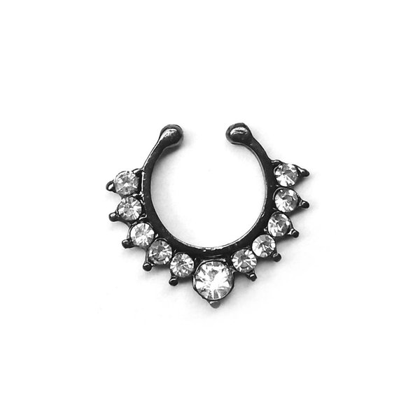15 style Zircon Bendable Gem Ring Bendable Seamless Fake Nose Ring Surgical Steel Crystal Ear Trague Cartilage Earring Piercing