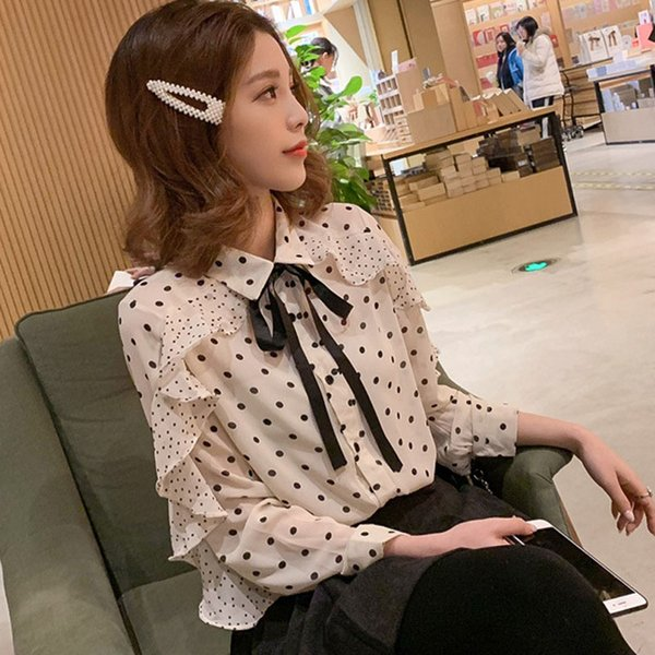 Sweet Polka Dot Ruffle Patchwork Blouse Shirts Turn Down Collar Lace-up Bow Tie Blusas Tops 2019 New Elegant Women Chiffon Shirt
