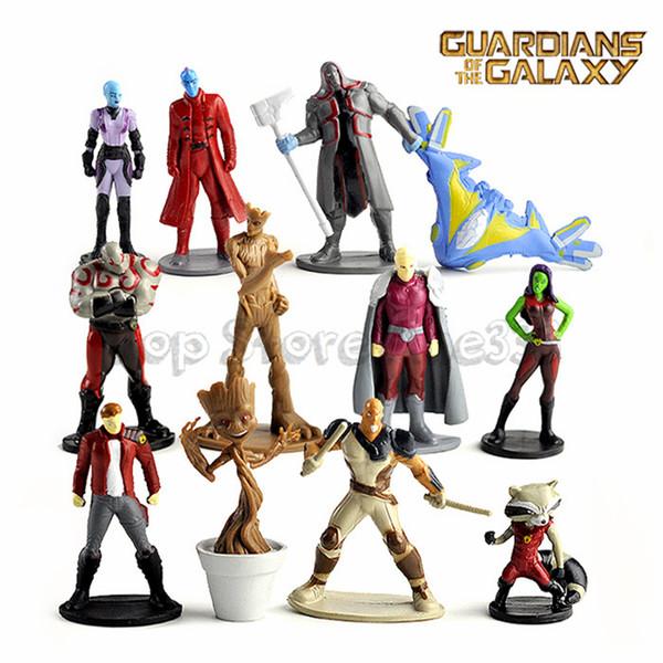 Guardianes de la galaxia Figuras de acción Juguetes de dibujos animados Colección PVC Groot modelo Decoración de la torta de escritorio 12 unids / set C6757