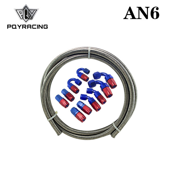 PQY - AN-6 STEELNESS/STEEL BRAIDED 5M AN6 STAINLESS OIL / fuel Oil line+ 6AN Fitting 6- AN Hose End Adaptor KIT PQY7112+