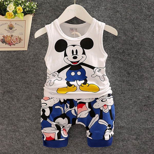 quality Toddler Baby Boys Tracksuits 2016 Summer Children Cartoon Sports Suits Kids Sleeveless Vest + shorts Clothes Outfit