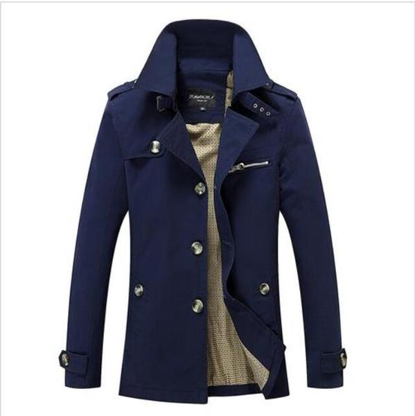Yeni Erkek Trençkot Modacı Man Orta-Uzun İlkbahar Sonbahar ingiliz tarzı İnce Ceket WINDBREAKER Erkek Plus Size M-5XL