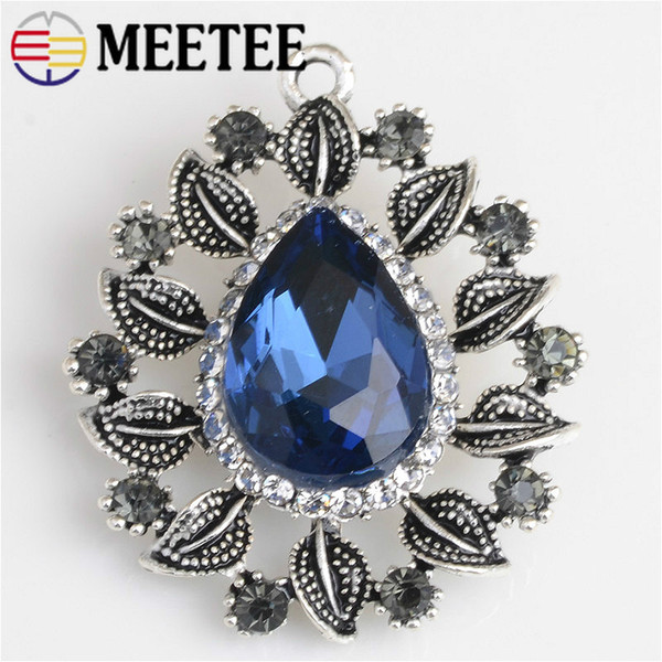 MEETEE KY2094 Retro Sew-on Rhinestone Button For Clothes DIY Scrapbooking Craft Wedding Decor Buttons Hairclip Jewelry Accessories
