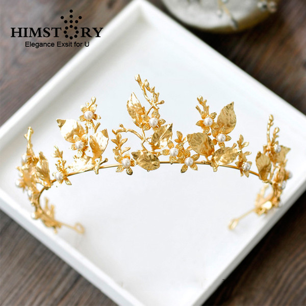 Himstory Gold Leaf Baroque Wedding Crown Tiara Vintage Bridal Hair Piece Accessories Women Party Prom Hairband Headpiece Y19051302