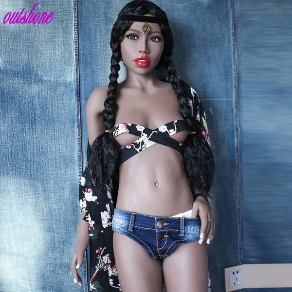 Free shipping 2019 168cm 100% full silicone solid sex doll black skin small boobs for men